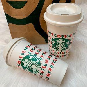 STARBUCKS REUSABLE CHRISTMAS GRANDE HOT CUPS 3PK